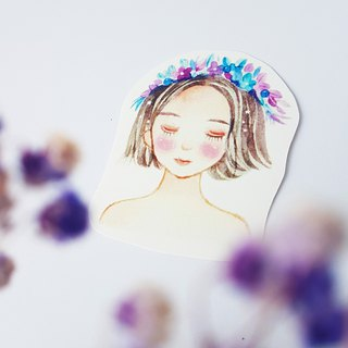Flower sleeping girl sticker set