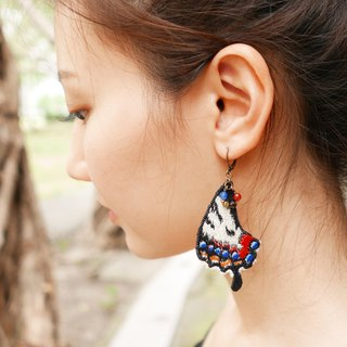 Embroidery Butterfly Tails Earring / Japanese Luehdorfia Butterfly