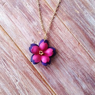 Leather Cherry Necklace Double Pink Purple Kai Handmade Leather