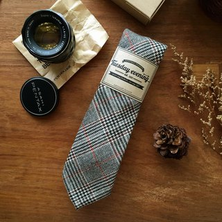Cotton Glen Plaid (Black-Red Line) Neck Tie