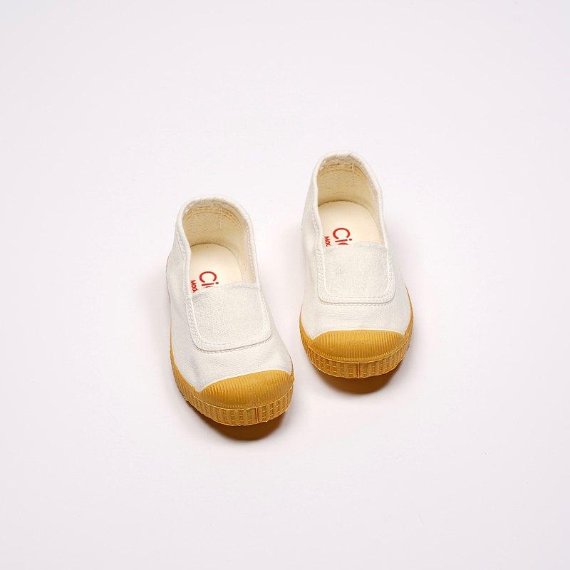 西班牙帆布鞋 CIENTA J75997 05 白色 黃底 經典布料 童鞋