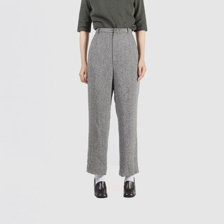 [Egg plant ancient] gray moon blended thick material straight ancient trousers