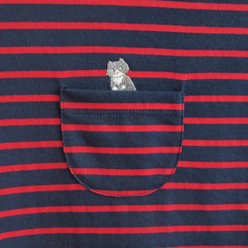 jumping cat striped t-shirt : navy × red