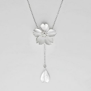 Season-Cherry Blossom-Sakura-Silver Y Necklace/ handmade