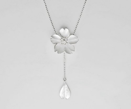 Season-Cherry Blossom-Sakura-Silver Y Necklace/ handmade, lariat & Y necklace