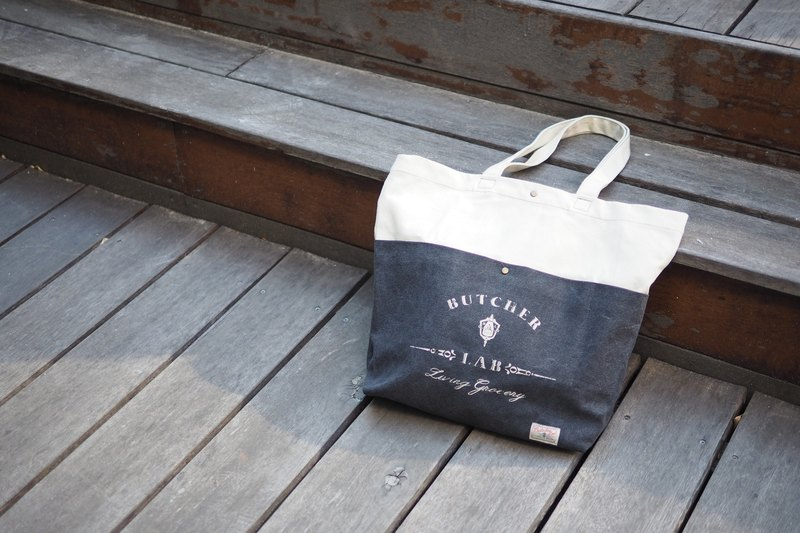 """Two-tone Tote"" Water-color tote bag single backpack gray"