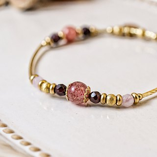 <Slow warm natural stone series>C1205 strawberry crystal brass design bracelet