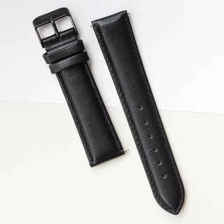【PICONO】20-18mm black leather strap-Black