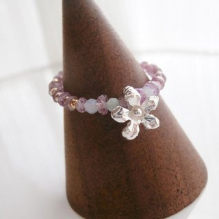 Pink sapphire and flower ring