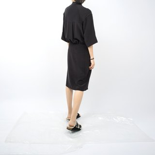 Gao fruit / GAOGUO original designer brand new women's minimalist black silk collar waist dress wild