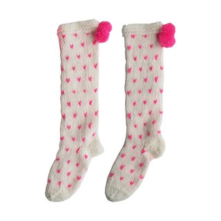PINKOI Sole / Super thick love pattern wool blend hand-woven socks (cream pink love)