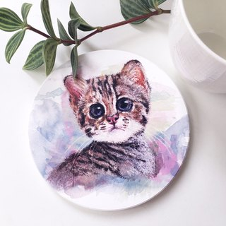 Animal illustration ceramic absorbent coaster [Little Stone Tiger]