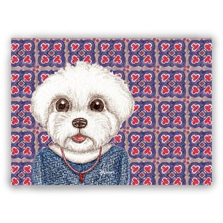 Hand-drawn illustration universal card / postcard / card / illustrator card--retro tile 06 + Maltese