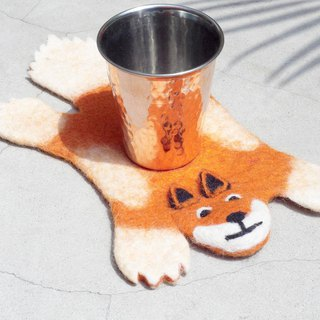 Valentine's Day National Wind Forest Series Wool Felt Coaster Animal Animal Coaster - Fox Drinking Coaster