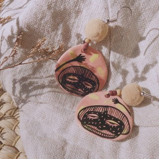 Handmade ceramic pink earring paint woman face :)