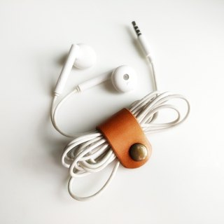Handmade classic earphone holder/cable holder, italian vegetable tanned leather