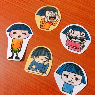Girl. Emoticon. Waterproof transparent sticker