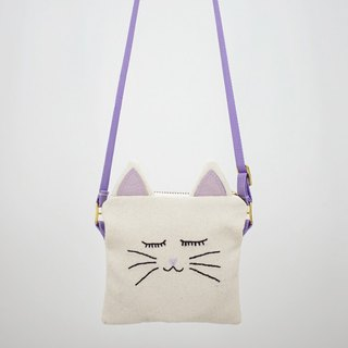 Sling Bag with Hand Embroidered Cat Face