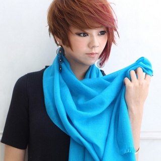 [Fashion Cute] plain silk wool shawl / scarf sea blue