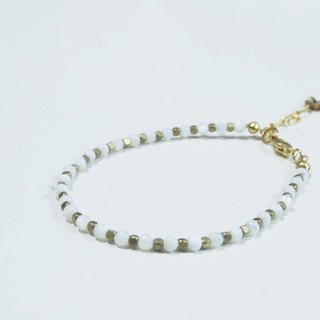 -- la-joie -- White Shell + Small Checker Bracelet /// Natural Stone x Bracelet ///_17BL001-1_Noon Tea Series