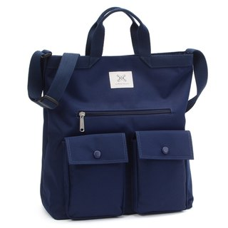 LaPoche Secrete: Boy-friendly Wenqing bag _ Jazz blue splash-proof dual-use canvas bag _ can carry shoulder A4