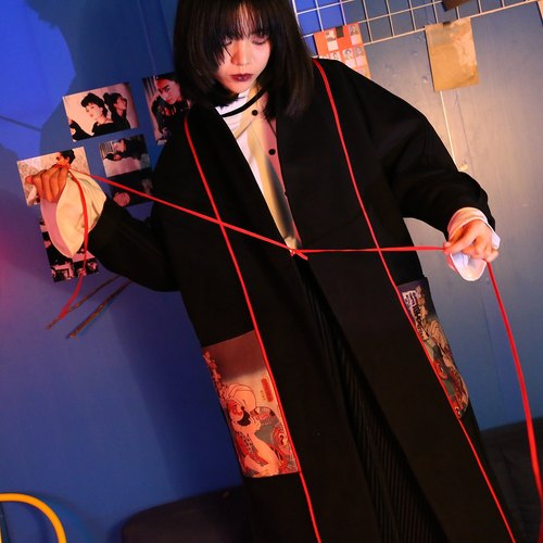 Shaoyaoju two-sided original design and wind figures wearing black spell color wool coat jacket