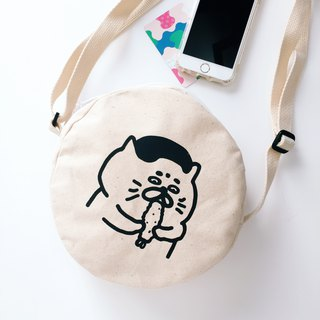 Fried shrimp Goro - silk screen oblique back round canvas bag