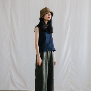 Relax Linen Trousers in Deep forest
