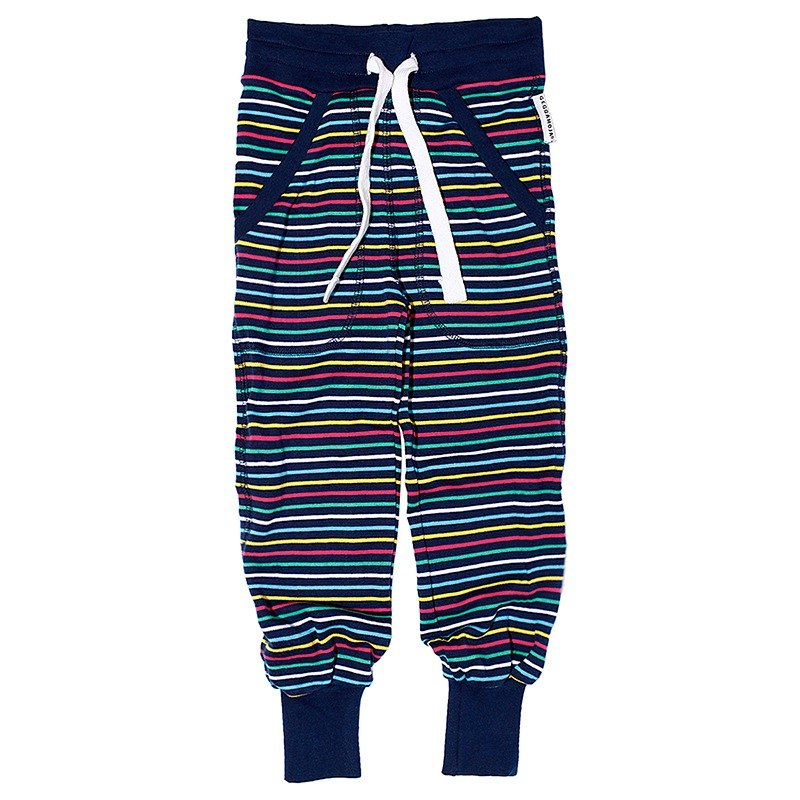 [System] Swedish Lovelybaby organic cotton striped trousers elastic cuffs rainbow colors (for 6M-10Y)