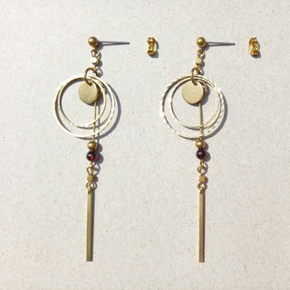 <Sunburst> Brass Earrings / Ear Clips / Ear Hooks