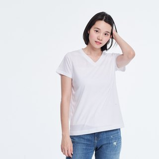 Mercerized Cotton Fabric Short Sleeves V neck T-shirt Top White