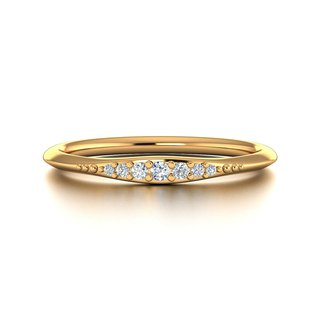 【PurpleMay Jewellery】18k Yellow Gold Simple Diamond Thin Ring Band R016