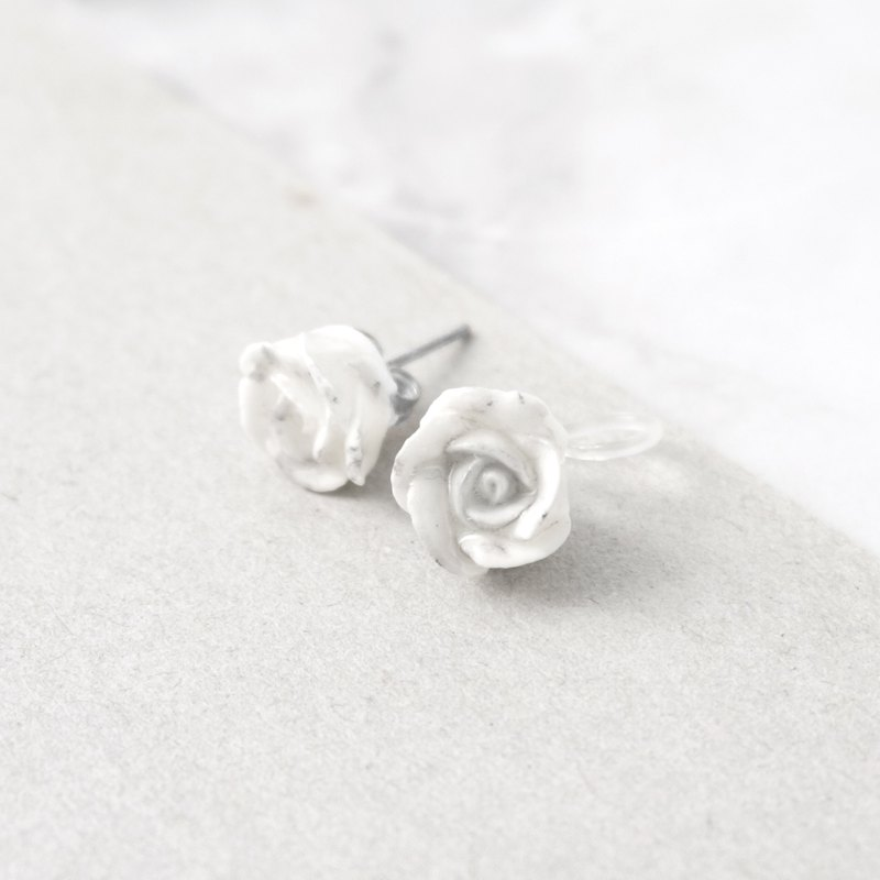 大理石紋玫瑰耳環/耳夾 手工黏土裱花