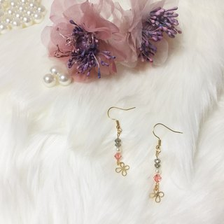 butterfly / crystal 22k plated / earrings