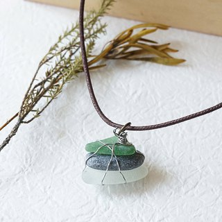 UPCYCLING Eco natural stone, sea glass, necklace- transparent, grey, orange