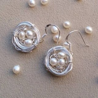 """Green Man Series"" Bird's Nest pearl earrings"