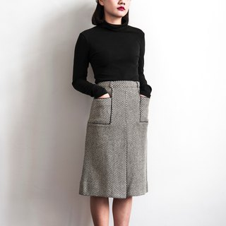 Vintage wave twill vintage wool skirt