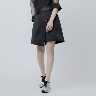 剪裁半窄裙 Black Front Double Layer Skirt