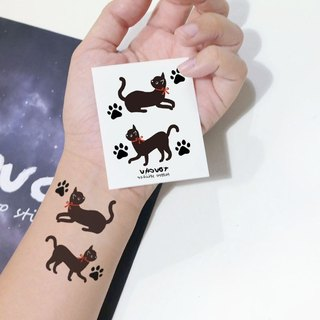 TU Tattoo Sticker - red bow tie, 2kittens, / Tattoo / waterproof Tattoo / original / Tattoo Sticker