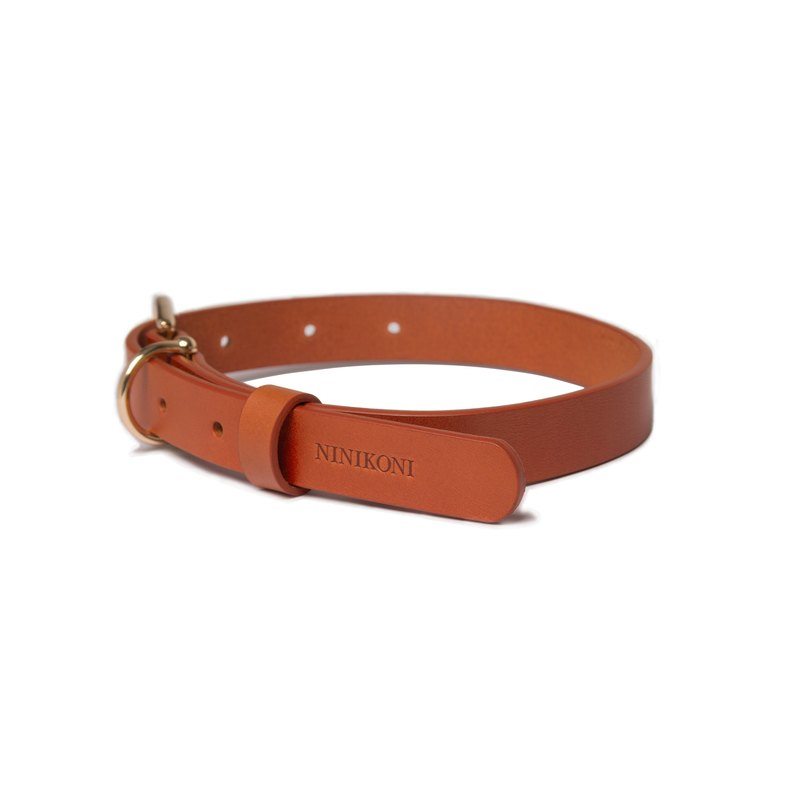 Cittadino Italian vegetable tanned leather collar - Orange Tangerine