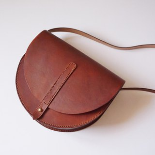 Half Moon Saddle Bag in Brown Leather - Simple Crossbody/ Slingbag