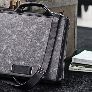 ad:acta Diplomat (black) upcycling binder bag - unique laptop briefcase