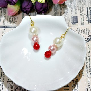 Alloy <red snowman> _ hooked earrings