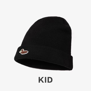 KIDS Duck Embroidered Warm Wool Cap::Black::
