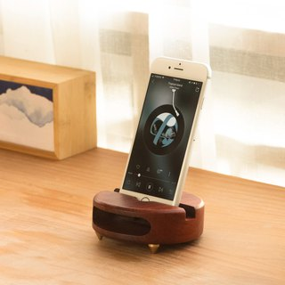 Little Monster Creative Gift Mobile Phone Holder Louds Log Physical Sound (Black Walnut)