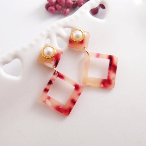 amber. Red - clip type earring needle earrings stainless steel earrings