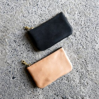 Zipper key bag vegetable tanned cowhide can be loaded with keys and change, easy to carry and store [LBT Pro]