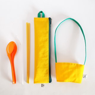 Eat more fruits and vegetables, good health / environmental protection tableware bag + drink bag / exclusive group / banana pumpkin