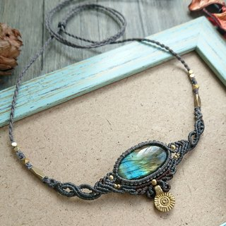 Misssheep-N72-National style two-color South American wax line braided brass labradorite necklace / clavicle chain