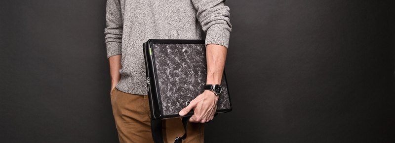 ad:acta Dienstweg upcycled binder bag - unique laptop briefcase - German handmade, Italian Nappa leather (black)
